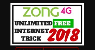 Zong Free Internet Code trick