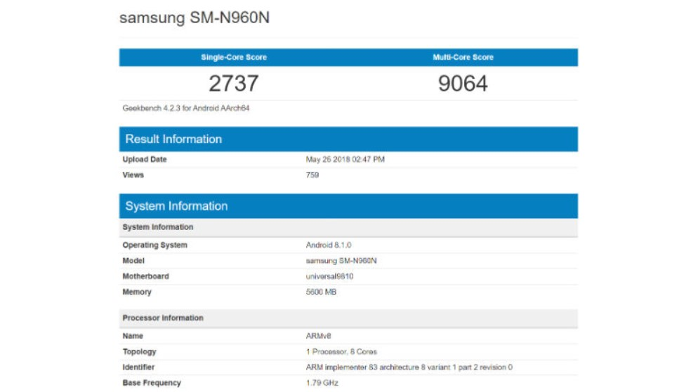 Galaxy Note 9 8GB RAM and 512GB storage, Specification Leak