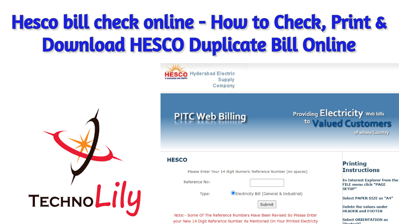Hesco bill check online 2020 - How to Check, Print & Download HESCO Duplicate Bill Online