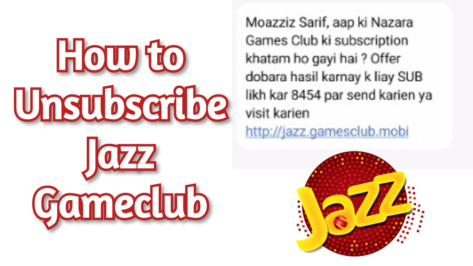 Jazz Gameclub Unsubscribe code 2021 - How to Unsubscribe Jazz Gameclub